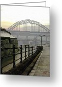 Surroundings Greeting Cards - Tyne bridge Greeting Card by James Shepherd