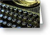 Dark Gray Dark Grey Greeting Cards - Typewriter I Greeting Card by Aleesha D Kelly