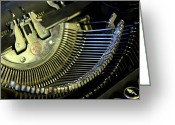 Dark Gray Dark Grey Greeting Cards - Typewriter II Greeting Card by Aleesha D Kelly