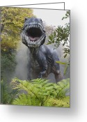 Dinosaurs Greeting Cards - Tyrannosaurus Greeting Card by David Davis and Photo Researchers