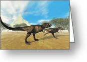 Wondrous Digital Art Greeting Cards - Tyrannosaurus Rex Greeting Card by Corey Ford