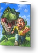 Fisheye Greeting Cards - Tyrannosaurus Rex jurassic park dinosaur fun fisheye action illustration painting print large Greeting Card by Walt Curlee