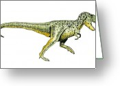 Reptiles Painting Greeting Cards - Tyrannosaurus Rex Greeting Card by Michael Vigliotti