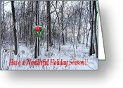 Julie Dant Greeting Cards - Tyras Woods at Christmas Greeting Card by Julie Dant