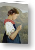 Deep In Thought Painting Greeting Cards - Tyrolean Girl Contemplating a Crucifix Greeting Card by Rudolph Friedrich Wasmann