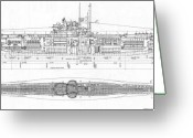 Atlantic Drawings Greeting Cards - U-Boat Cutaway Series Greeting Card by Aviation Heritage Press