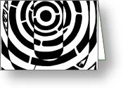 Learn To A Maze Greeting Cards - U-Maze Greeting Card by Yonatan Frimer Maze Artist