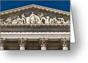 Classical Style Greeting Cards - U. S. Capitol Frieze Over East Facade Greeting Card by Richard Nowitz