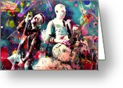 Concert Painting Greeting Cards - U2 Greeting Card by Rosalina Atanasova