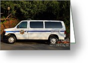 College Campus Greeting Cards - UC Berkeley Campus Police Van  . 7D10180 Greeting Card by Wingsdomain Art and Photography