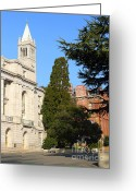 College Campus Greeting Cards - UC Berkeley . Sather Tower Campanile . Wheeler Hall . South Hall Built 1873 . 7D10040 Greeting Card by Wingsdomain Art and Photography