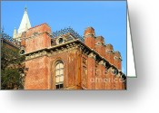 Brick Schools Greeting Cards - UC Berkeley . South Hall . Oldest Building At UC Berkeley . Built 1873 . The Campanile in The Backgr Greeting Card by Wingsdomain Art and Photography