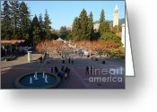 Cal Bear Greeting Cards - UC Berkeley . Sproul Hall . Sproul Plaza . Sather Gate and Sather Tower Campanile . 7D10003 Greeting Card by Wingsdomain Art and Photography