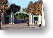 At Work Greeting Cards - UC Berkeley . Sproul Plaza . Sather Gate . 7D10020 Greeting Card by Wingsdomain Art and Photography