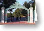 At Work Greeting Cards - UC Berkeley . Sproul Plaza . Sather Gate . 7D10023 Greeting Card by Wingsdomain Art and Photography