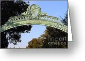 At Work Greeting Cards - UC Berkeley . Sproul Plaza . Sather Gate . 7D10031 Greeting Card by Wingsdomain Art and Photography