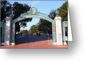 Cal Bear Greeting Cards - UC Berkeley . Sproul Plaza . Sather Gate . 7D10033 Greeting Card by Wingsdomain Art and Photography