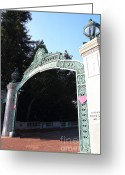 At Work Greeting Cards - UC Berkeley . Sproul Plaza . Sather Gate . 7D10035 Greeting Card by Wingsdomain Art and Photography