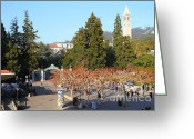 College Campus Greeting Cards - UC Berkeley . Sproul Plaza . Sather Gate and Sather Tower Campanile . 7D10000 Greeting Card by Wingsdomain Art and Photography
