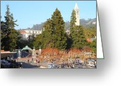 Cal Bear Greeting Cards - UC Berkeley . Sproul Plaza . Sather Gate and Sather Tower Campanile . 7D10015 Greeting Card by Wingsdomain Art and Photography