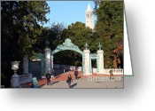 Cal Bear Greeting Cards - UC Berkeley . Sproul Plaza . Sather Gate and Sather Tower Campanile . 7D10025 Greeting Card by Wingsdomain Art and Photography