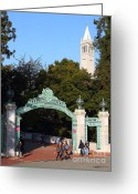 Berkeley Greeting Cards - UC Berkeley . Sproul Plaza . Sather Gate and Sather Tower Campanile . 7D10027 Greeting Card by Wingsdomain Art and Photography