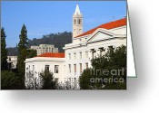 College Campus Greeting Cards - UC Berkeley . Sproul Plaza . Sproul Hall .  Sather Tower Campanile . 7D10008 Greeting Card by Wingsdomain Art and Photography