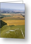 Luminescence Greeting Cards - Uffington White Horse, Oxfordshire, Uk Greeting Card by David Parker
