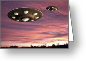 Aliens Drawings Greeting Cards - UFO Landing Greeting Card by Friedrich Saurer and Photo Researchers