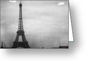Flying Saucer Greeting Cards - Ufo: Paris Greeting Card by Granger