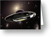 Aliens Drawings Greeting Cards - Ufo Greeting Card by Spencer Sutton and Photo Researchers