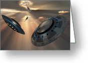 Bizarre Digital Art Greeting Cards - Ufos And Fighter Planes In The Skies Greeting Card by Mark Stevenson