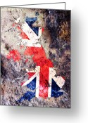 United Kingdom Greeting Cards - UK Flag Map Greeting Card by Michael Tompsett