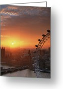 High Wheel Greeting Cards - Uk, London, Millennium Wheel And Cityscape, Sunset, Elevated View Greeting Card by Travelpix Ltd