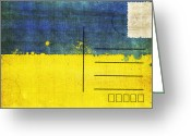 Backside Greeting Cards - Ukraine flag postcard Greeting Card by Setsiri Silapasuwanchai