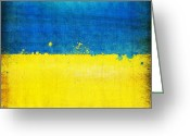 Antique Map Digital Art Greeting Cards - Ukraine flag Greeting Card by Setsiri Silapasuwanchai