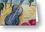 Instruments Drawings Greeting Cards - Ukulele At The Beach Greeting Card by Gitta Brewster