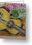 Instruments Drawings Greeting Cards - Ukulele One Greeting Card by Gitta Brewster