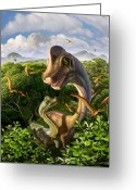 Volcano Greeting Cards - Ultrasaurus Greeting Card by Jerry LoFaro