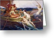 Rowing Greeting Cards - Ulysses and the Sirens Greeting Card by Herbert James Draper