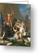 Alluring Greeting Cards - Ulysses and the Sirens Greeting Card by Leon Auguste Adolphe Belly