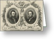 Presidential Portrait Greeting Cards - Ulyssess S Grant and Schuyler Colfax Republican Campaign Poster Greeting Card by International  Images