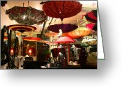 Store Fronts Greeting Cards - Umbrella Art Greeting Card by Kym Backland