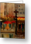 Water Framed Prints Posters Greeting Cards - Umbrella Day Greeting Card by Julie Lueders