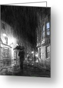 Black And White Photos Mixed Media Greeting Cards - Umbrella Man I Greeting Card by Svetlana Sewell