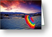 Umbrella Greeting Cards - Umbrella on desert sands Greeting Card by Garry Gay