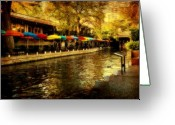Riverwalk Greeting Cards - Umbrellas in the Riverwalk Greeting Card by Iris Greenwell