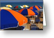 Crete Greeting Cards - Umbrellas Of Crete Greeting Card by Bob Christopher