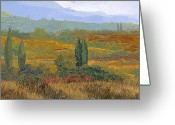 Guido Tapestries Textiles Greeting Cards - un altro pomeriggio in Toscana Greeting Card by Guido Borelli