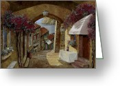 Street Scene Greeting Cards - Un Bicchiere Sotto Il Lampione Greeting Card by Guido Borelli